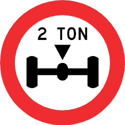 Traffic sign of Chile: Vehicles with an axle weight heavier than indicated prohibited