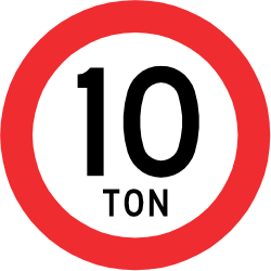 Traffic sign of Chile: Vehicles heavier than indicated prohibited