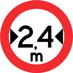 Traffic sign of Chile: Vehicles wider than indicated prohibited
