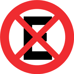 Traffic sign of Chile: Parking and stopping prohibited