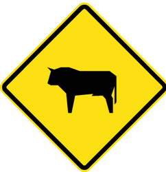Traffic sign of Chile: Warning for cattle on the road