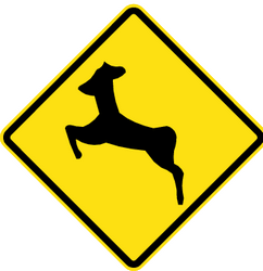 Traffic sign of Chile: Warning for crossing deer