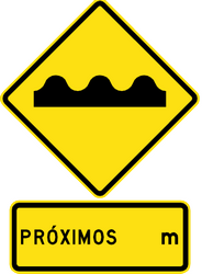 Traffic sign of Chile: Warning for a bad road surface