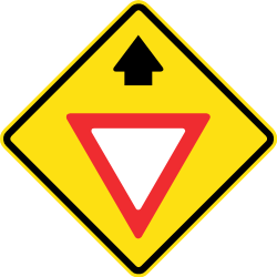 Traffic sign of Chile: Give way ahead