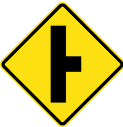 Traffic sign of Chile: Warning for an uncontrolled crossroad with a road from the right