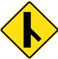 Traffic sign of Chile: Warning for an uncontrolled crossroad with a sharp road from the right
