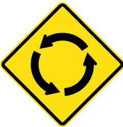 Traffic sign of Chile: Warning for a roundabout