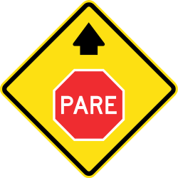 Traffic sign of Chile: Stop and give way ahead