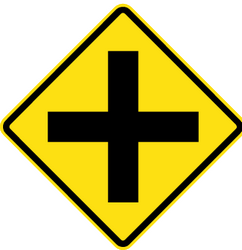 Traffic sign of Chile: Warning for an uncontrolled crossroad