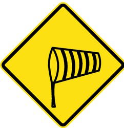 Traffic sign of Chile: Warning for heavy crosswind