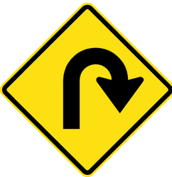 Traffic sign of Chile: Warning for a U-turn