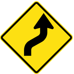 Traffic sign of Chile: Warning for a double curve, first right then left