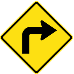 Traffic sign of Chile: Warning for a sharp curve to the right