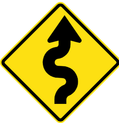 Traffic sign of Chile: Warning for curves