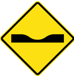 Traffic sign of Chile: Warning for a dip in the road