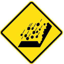 Traffic sign of Chile: Warning for falling rocks