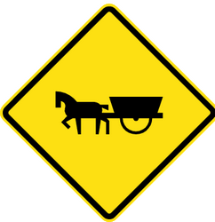 Traffic sign of Chile: Warning for horse carts