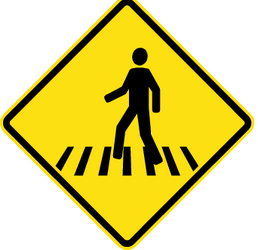 Traffic sign of Chile: Warning for a crossing for pedestrians