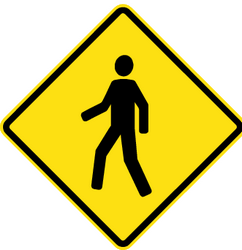 Traffic sign of Chile: Warning for pedestrians