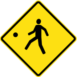 Traffic sign of Chile: Warning for a playground