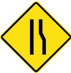 Traffic sign of Chile: Warning for a road narrowing on the right