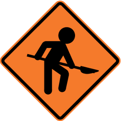 Traffic sign of Chile: Warning for roadworks