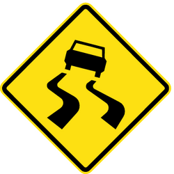 Traffic sign of Chile: Warning for a slippery road surface