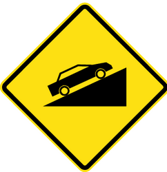 Traffic sign of Chile: Warning for a steep ascent