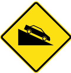 Traffic sign of Chile: Warning for a steep descent