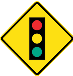 Traffic sign of Chile: Warning for a traffic light