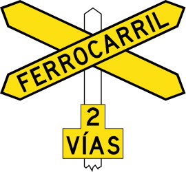 Traffic sign of Chile: Warning for a railroad crossing with more than 1 railway