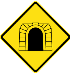 Traffic sign of Chile: Warning for a tunnel