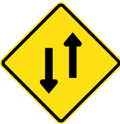 Traffic sign of Chile: Warning for a road with two-way traffic