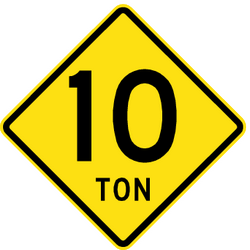 Traffic sign of Chile: Warning for a limited weight