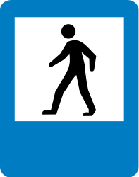 Traffic sign of Colombia: Crossing for pedestrians