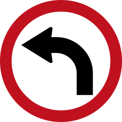Traffic sign of Colombia: Turning left mandatory