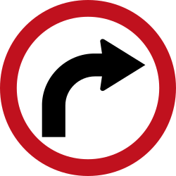 Traffic sign of Colombia: Turning right mandatory
