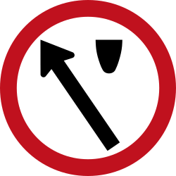 Traffic sign of Colombia: Passing left mandatory