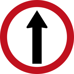 Traffic sign of Colombia: Driving straight ahead mandatory