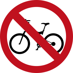 Traffic sign of Colombia: Cyclists prohibited