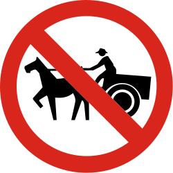 Traffic sign of Colombia: Horse carts prohibited