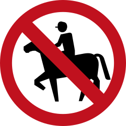 Traffic sign of Colombia: Equestrians prohibited