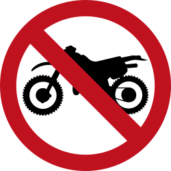 Traffic sign of Colombia: Motorcycles prohibited