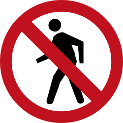 Traffic sign of Colombia: Pedestrians prohibited