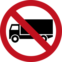 Traffic sign of Colombia: Trucks prohibited