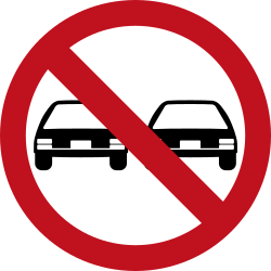 Traffic sign of Colombia: Overtaking prohibited