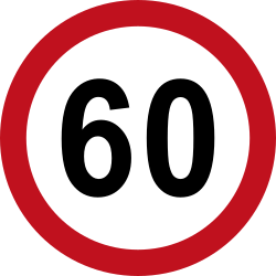 Traffic sign of Colombia: Driving faster than indicated prohibited (speed limit)
