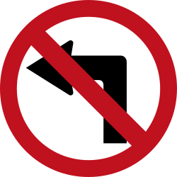 Traffic sign of Colombia: Turning left prohibited