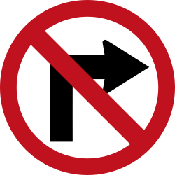 Traffic sign of Colombia: Turning right prohibited