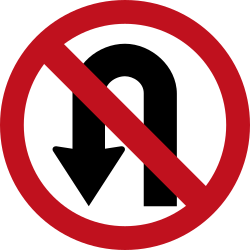 Traffic sign of Colombia: Turning around prohibited (U-turn)